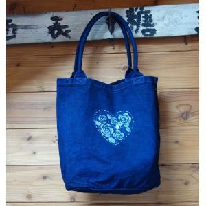 藍染丸型キャンバスバッグハートのバラ|yatsugatakestyle