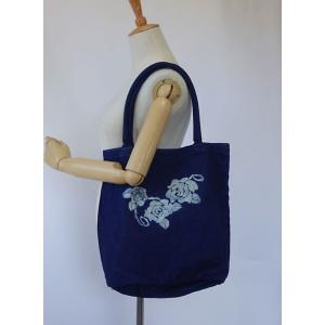 藍染トートバッグ バケツ型キャンバスバッグ 手染め型染・バラ|yatsugatakestyle