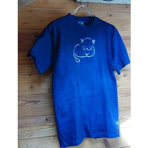 藍染 型染 手染め オリジナル青い眠り猫のTシャツ メンズ  レディースどちらでも|yatsugatakestyle
