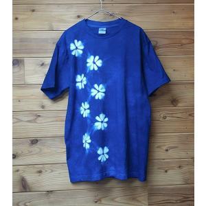 藍染Tシャツ 花柄絞り レディースにも yatsugatakestyle