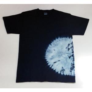 藍染 手染め 手絞り 下半分丸絞りTシャツ レディース メンズ yatsugatakestyle