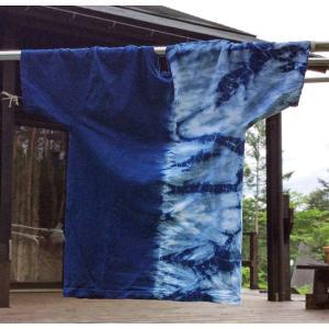 藍染Tシャツ半分絞り 手染め 絞り染め レディース・メンズ タイダイ yatsugatakestyle