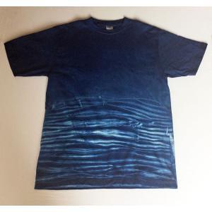 藍染波模様 Tシャツ手染め手絞り レディース メンズ yatsugatakestyle