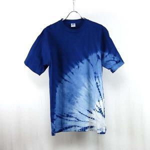 藍染Tシャツ  下半分丸絞り 手染めグラデーション  メンズにもレディースにも yatsugatakestyle