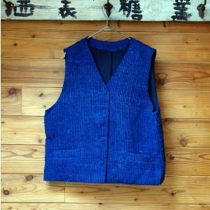 シルク手紡ぎ手織り藍染めの布で作ったメンズベスト・レディースにも|yatsugatakestyle