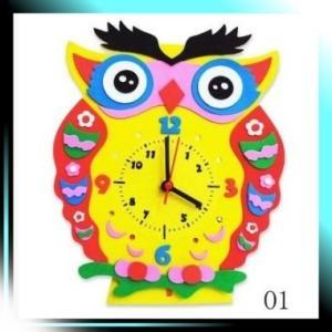 手作り 置き 時計 かわいい 動物 の おもしろ 時計 DIY ふくろう 01|yaya-ayy14