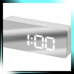 アイリスプラザ 目覚まし時計 LED ミラークロック デジタル 置き時計|yaya-ayy14