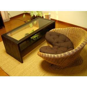 【1月中旬入荷予定】アジアン家具 バリ ♪ATNガラスローテーブル&メディケーションチェア1人掛け SET♪ セット ローテーブル ラタンソファー|yayapapus-y