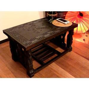 アジアン家具 バリ ♪ロンボク彫刻テーブル(M)♪ ナイトテーブル ベッドサイドテーブル 収納 キャビネット 木製 チーク材 エスニック|yayapapus-y