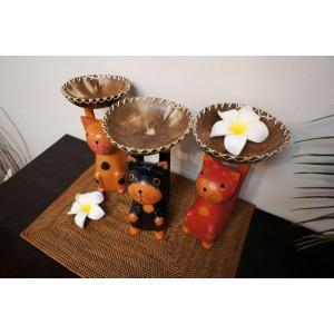 アジアン雑貨 バリ ♪ココナッツトレイ ネコ(L)♪ ネコ 置物 オブジェ 小物入れ プランター 猫 ねこ グッズ エスニック|yayapapus-y