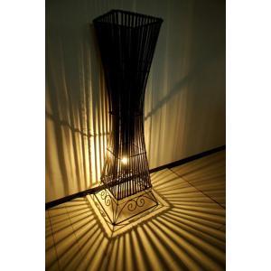 間接照明 スタンドライト ♪【12月上旬入荷予定】バンブーリブランプ(花台付き)100cm L♪ アジアン照明 バリ おしゃれ フロアスタンド エスニック|yayapapus-y