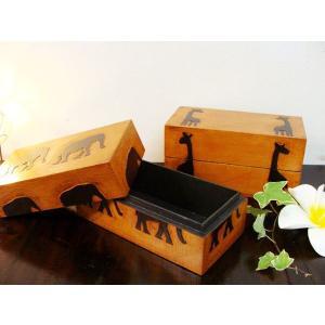 ウッドトレイ ウッドボックス アクセサリーケース アジアン雑貨 バリ ♪アニマルBOX小物入れ(長方形タイプ)♪ エスニック インテリア雑貨 収納雑貨 収納家具の写真