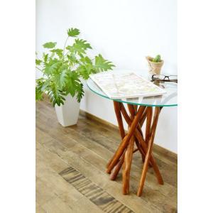 【10月上旬入荷予定】♪チーク ヴィオラ ガラステーブル(ナチュラル)♪ サイドテーブル ガラステーブル 丸テーブル 花台 木製 チーク材 エスニック yayapapus-y