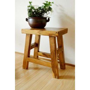 アジアン家具 バリ ♪古木チークの一枚板ナチュラルベンチ(1人掛け)♪ スツール 木製 花台 ベンチ イス 椅子 チェア チーク材 エスニック yayapapus-y