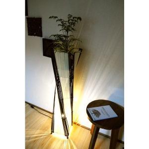 間接照明 バンブーとコットントルネードランプL(花台付き100cm)♪ アジアン照明 バリ おしゃれ フロアスタンド|yayapapus-y