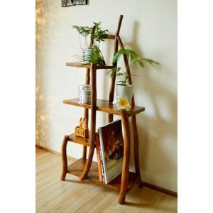 アジアン家具 バリ ♪【11月上旬入荷予定】チークの根のナチュラルラック(ナチュラル)♪ 飾り棚 収納 木製|yayapapus-y