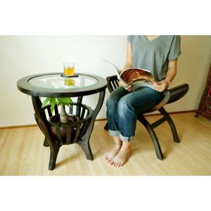 【2月上旬入荷予定】アジアン家具 バリ ♪ラダーズガラステーブルとカルティーニチェアのセット♪ サイドテーブル 丸 ガラス スツール チーク材 エスニック|yayapapus-y