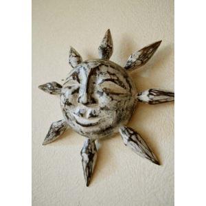 アジアン雑貨 バリ (にっこり太陽(ホワイトウォッシュ) 壁飾り 壁掛け オブジェ 木製 エスニック
