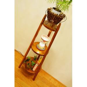 アジアン家具 バリ家具 ♪ARラウンド3段ラック(ナチュラル)♪ ラック 棚 飾り棚 収納棚 木製 チーク材 yayapapus-y