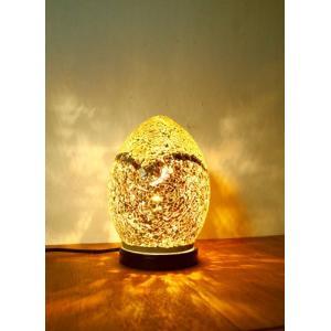 間接照明 スタンドライト ♪モザイクガラスエッグランプ(全3色)♪ アジアン照明 インド おしゃれ テーブルスタンド 卓上 エスニック クリスマス プレゼント|yayapapus-y