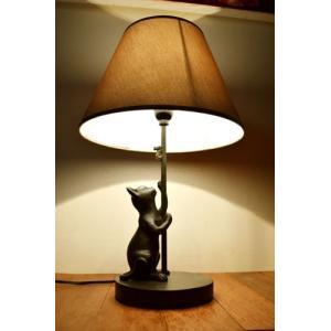 間接照明 スタンドライト ♪ブロンズ調ネコのスタンドランプ(ネコとネズミ)♪ アジアン照明 バリ おしゃれ 置物 オブジェ エスニック クリスマス プレゼント|yayapapus-y