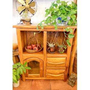 アジアン ♪チークの根の1ドア2引き出しラック(ナチュラル)♪ おしゃれ インテリア エスニック キッチンボード 食器棚 リビングボード yayapapus-y