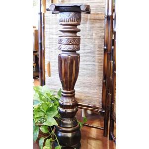 【9月中旬入荷予定】アジアン家具 バリ ♪ロンボク彫刻花台♪ おしゃれ インテリア エスニック フラワースタンド yayapapus-y
