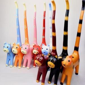 アジアン雑貨 バリ雑貨 ♪しっぽネコのトイレットペーパーホルダー(各8色)♪ 置物 オブジェ 木製 エスニック|yayapapus-y
