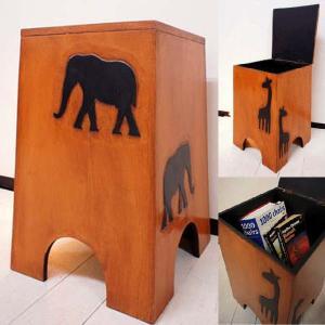 椅子 スツール 木製 収納 ボックス (アニマル彫刻収納スツール) アジアン家具 バリ イス アンティーク 花台 エスニックの写真