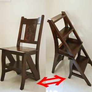 アジアン家具 バリ ♪チーク ラダーステップチェア♪ 折りたたみ 踏み台 イス ダイニングチェア ラダーラック 本棚 木製 チーク材 yayapapus-y