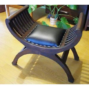 アジアン家具 バリ カルティニチェア(黒/茶)♪ スツール 木製 チーク材 エスニック yayapapus-y
