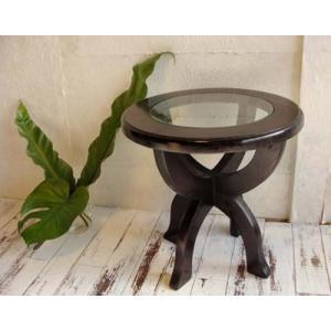 【9月下旬入荷予定】サイドテーブル ガラス 丸 木製 ♪CAラウンドガラステーブル♪ アジアン家具 バリ チーク材 エスニック yayapapus-y