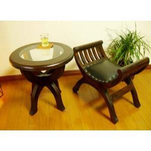 アジアン家具 バリ ♪CAラウンドガラステーブル&カルティニチェアS SET♪ サイドテーブル 丸 ガラス スツール チーク材 エスニック|yayapapus-y