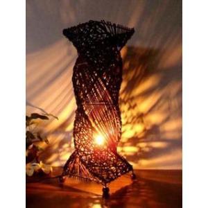 間接照明 スタンドライト アタとラタンのネジレランプ♪ アジアン照明 バリ おしゃれ フロアスタンド エスニック クリスマス プレゼント|yayapapus-y