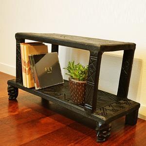 サイドテーブル おしゃれ 木製 花台 (ロンボクテーブルラック2段(マハラニ) アジアン家具 バリ ナイトテーブル フラワースタンド エスニックの画像