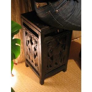 【12月上旬入荷予定】アジアン家具 バリ ♪ロンボク透かし彫り収納スツール♪ スツール 収納 木製 ボックススツール エスニック yayapapus-y