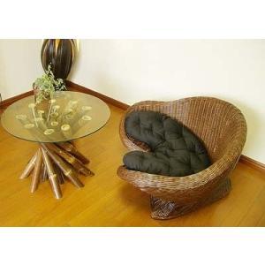メディケーションチェア シングル&バンブーガラステーブルセット♪ ソファ 1人掛け 丸テーブル ガラス ラタン 木製 エスニック|yayapapus-y
