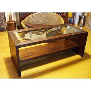 アジアン家具 バリ ♪ATNガラステーブル(ミドルサイズ)♪ ローテーブル 座卓 ガラス 木製 チーク エスニック yayapapus-y