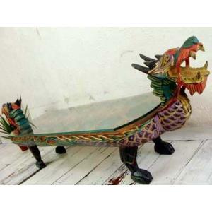 アジアン家具 バリ ♪ドラゴン ガラステーブル♪ ローテーブル 座卓 ガラステーブル 木製 エスニック yayapapus-y