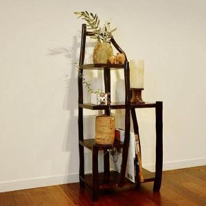 チークの根のナチュラルラック(ダーク)♪ アジアン家具 棚 飾り棚 収納棚 木製 チーク材 エスニック yayapapus-y