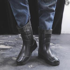 メンズレインブーツ ショート 保温 綿付き レインシューズ レイングッズ シューズ 紳士靴 雨靴 防水 滑り止め 歩きやす 疲れにくい 履きやすい|yayushop