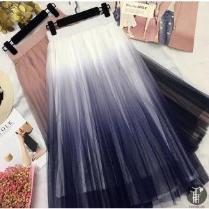 グラデーションスカート チュールスカート プリーツスカート マキシスカート ロング フレア 体型カバー ハイウエスト レディース 代引不可|yayushop