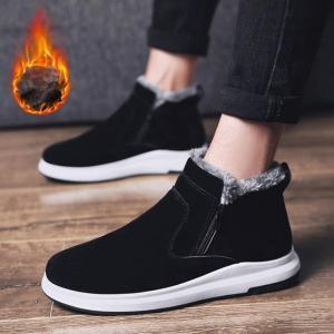 ショートブーツ ムートンブーツ スノーブーツ メンズ靴 冬靴 裏ボア 防寒 ショート丈 メンズ ブーツ メンズファッションふわふわ|yayushop