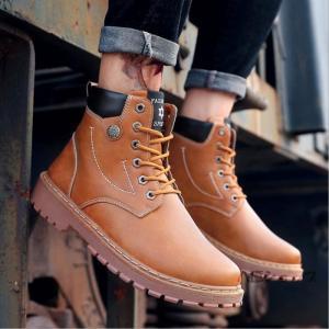 革靴 ブーツ メンズブーツ ミリタリーブーツ PU革靴 PUレザー ハイカット 滑りにくい ワークブーツ メンズ 靴 紳士靴 通勤|yayushop