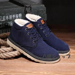 ショートブーツ スノーブーツ 裏起毛 ワークブーツ ブーツ メンズ メンズブーツ 防寒靴 ボア付き|yayushop