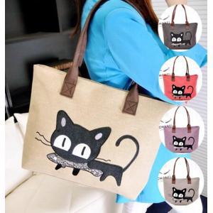 トートバッグ キャンバス ハンドバッグ レディース 猫 ネコ 大容量 かばん 鞄 可愛い かわいい  収納 お魚くわえた トート バック メール便限定 代引不可|yayushop