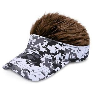【 フサフサ 髪の毛 フレア バイザー 】(DOLCE LUCCI) フレアー ウィッグ 付 ヘアー ハゲ かつら サンバイザー ゴル|ybd