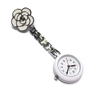 ナースウォッチ かわいい時計 懐中時計 逆さ文字盤 ローズ  クリップ式 ホワイト|ybd