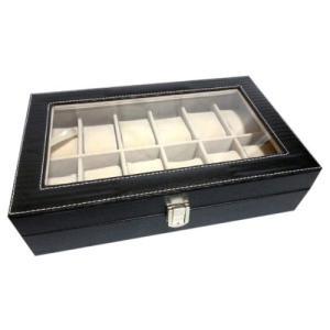 ウォッチコレクションケース 腕時計12本収納 / ブラックレザー調(PVC黒)|ybd