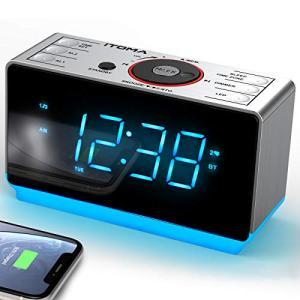 iTOMA 目覚まし時計 ラジオ付き デジタル クロックラジオ 置き時計 bluetooth ワイドバンドFMラジオ ブルートゥース ybd